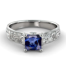 "Load image into Gallery viewer, 1 Carat 14K White Gold Blue Sapphire & Diamonds ""Harmony"" Engagement Ring 