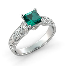 "Load image into Gallery viewer, 1 Carat 14K White Gold Emerald & Diamonds ""Harmony"" Engagement Ring 