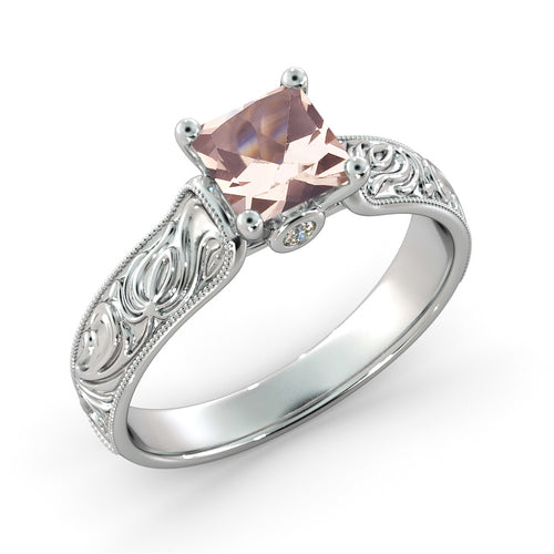 1 Carat 14K White Gold Morganite & Diamonds