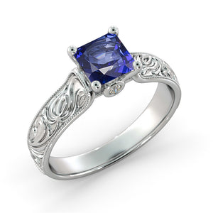 "1.06 TCW 14K Yellow Gold Blue Sapphire ""Harmony"" Engagement Ring"