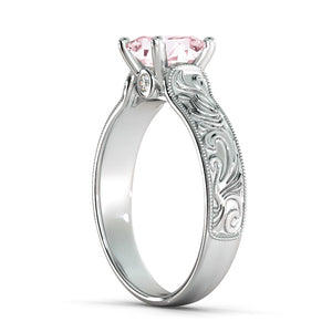 "1 Carat 14K Rose Gold Morganite & Diamonds ""Harmony"" Engagement Ring"