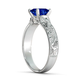 "1 Carat 14K White Gold Blue Sapphire & Diamonds ""Harmony"" Engagement Ring"