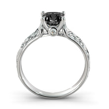"Load image into Gallery viewer, 1 Carat 14K Yellow Gold Black Diamond ""Harmony"" Engagement Ring"