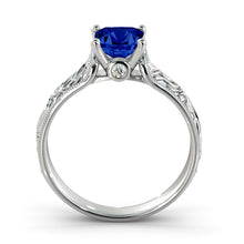 "Load image into Gallery viewer, 1 Carat 14K Rose Gold Blue Sapphire & Diamonds ""Harmony"" Engagement Ring"