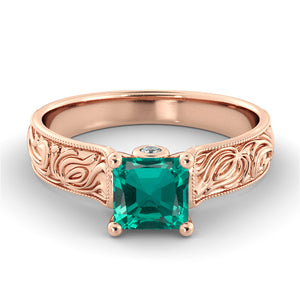 1.06 TCW 14K Yellow Gold Emerald