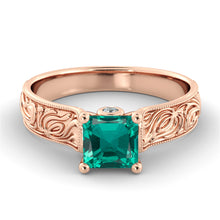"Load image into Gallery viewer, 2 Carat 14K Rose Gold Emerald & Diamonds ""Harmony"" Engagement Ring"