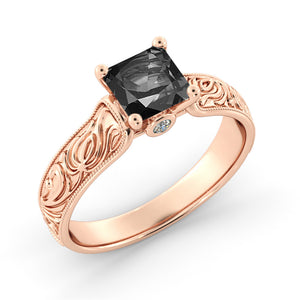 1.06 TCW 14K Rose Gold Black Diamond