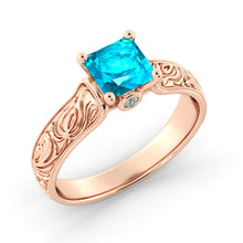 "Load image into Gallery viewer, 1 Carat 14K Yellow Gold Blue Topaz & Diamonds ""Harmony"" Engagement Ring"