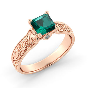 2 Carat Emerald Hand Carved Engagement Ring - Diamonds Mine