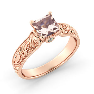 "1 Carat 14K Yellow Gold Morganite & Diamonds ""Harmony"" Engagement Ring"