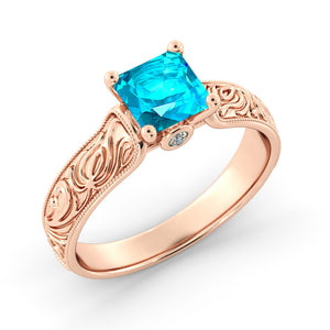 1.06 TCW 14K Rose Gold Blue Topaz