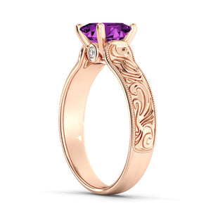 "2.06 TCW 14K Rose Gold Amethyst ""Harmony"" Engagement Ring"