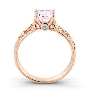 "1 Carat 14K White Gold Morganite & Diamonds ""Harmony"" Engagement Ring"