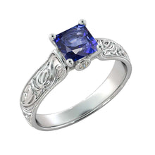 Load image into Gallery viewer, Blue Sapphire Antique Engagement Ring - Diamonds Mine