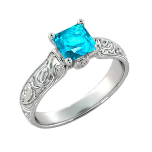 Blue Topaz Filigree Ring - Diamonds Mine