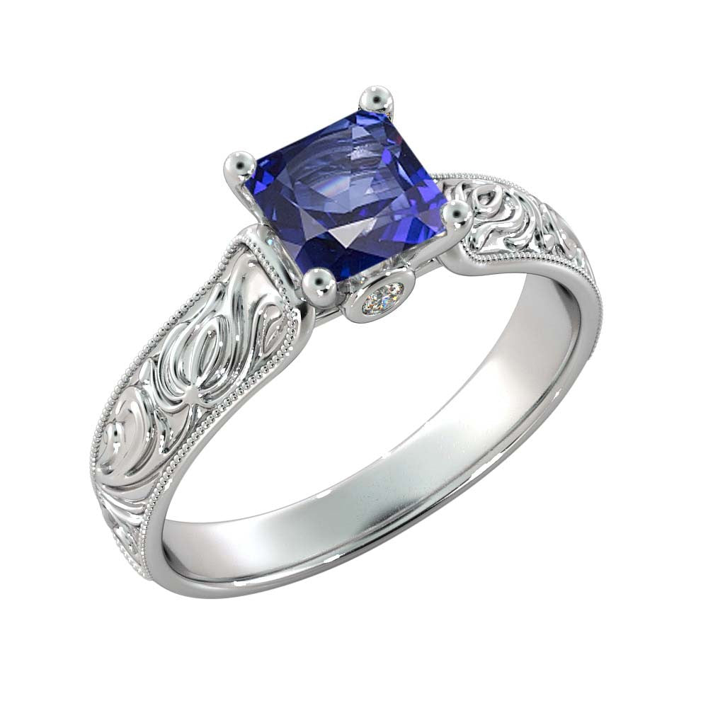 1 Carat 14K White Gold Blue Sapphire & Diamonds