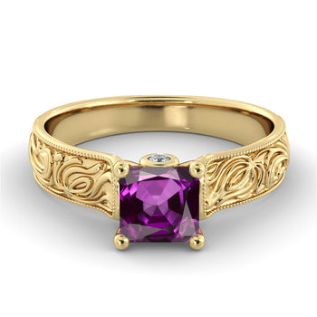1 Carat 14K Yellow Gold Amethyst