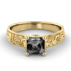 "1 Carat 14K Yellow Gold Black Diamond ""Harmony"" Engagement Ring"