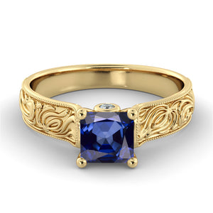 "1 Carat 14K White Gold Blue Sapphire & Diamonds ""Harmony"" Engagement Ring 