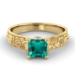 "1.06 TCW 14K Yellow Gold Emerald ""Harmony"" Engagement Ring"
