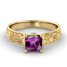 "Load image into Gallery viewer, 1 Carat 14K Rose Gold Amethyst & Diamonds ""Harmony"" Engagement Ring"
