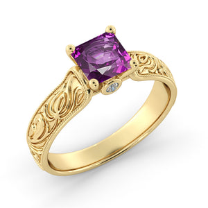 "1 Carat 14K Yellow Gold Amethyst ""Harmony"" Engagement Ring"