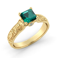 "Load image into Gallery viewer, 1 Carat 14K Yellow Gold Emerald & Diamonds ""Harmony"" Engagement Ring"