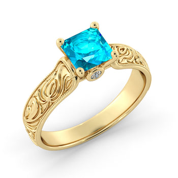 1 Carat 14K Yellow Gold Blue Topaz & Diamonds