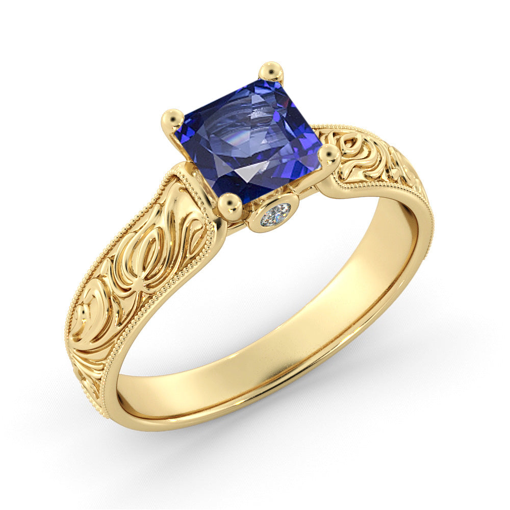 1 Carat 14K Yellow Gold Blue Sapphire & Diamonds