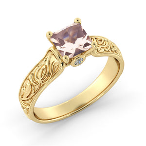 1.06 TCW 14K Yellow Gold Morganite