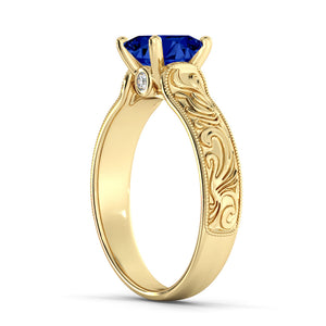 "1 Carat 14K Rose Gold Blue Sapphire & Diamonds ""Harmony"" Engagement Ring"