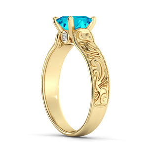 "1 Carat 14K Yellow Gold Blue Topaz & Diamonds ""Harmony"" Engagement Ring"