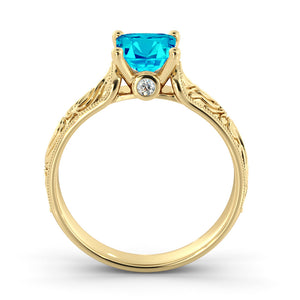 "1 Carat 14K Yellow Gold Aquamarine ""Harmony"" Engagement Ring"