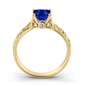 "1 Carat 14K Yellow Gold Blue Sapphire & Diamonds ""Harmony"" Engagement Ring"
