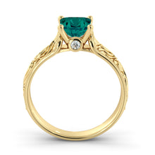 "Load image into Gallery viewer, 1 Carat 14K White Gold Emerald & Diamonds ""Harmony"" Engagement Ring"