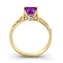 "Load image into Gallery viewer, 1 Carat 14K Yellow Gold Amethyst ""Harmony"" Engagement Ring"