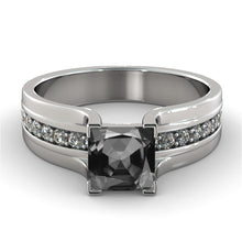 Load image into Gallery viewer, Princess Cut Black & White Diamonds Ring - Diamonds Mine