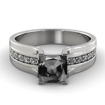 Princess Cut Black & White Diamonds Ring - Diamonds Mine