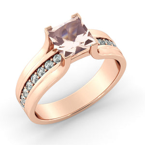 Vintage Diamonds Channel Set Morganite Ring - Diamonds Mine