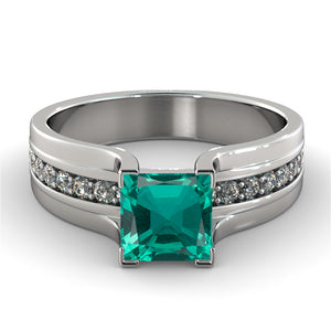 "1.2 Carat 14K White Gold Emerald & Diamonds ""Bridget"" Engagement Ring"