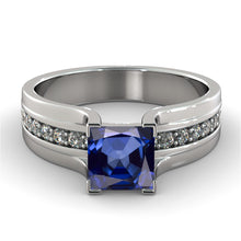 "Load image into Gallery viewer, 1.2 TCW 14K White Gold Blue Sapphire""Bridget"" Engagement Ring"