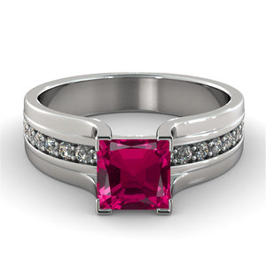 2.2 Carat 14K White Gold Ruby & Diamonds
