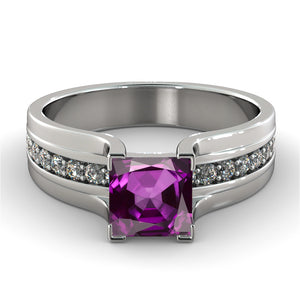 "1.2 Carat 14K White Gold Amethyst ""Bridget"" Engagement Ring"