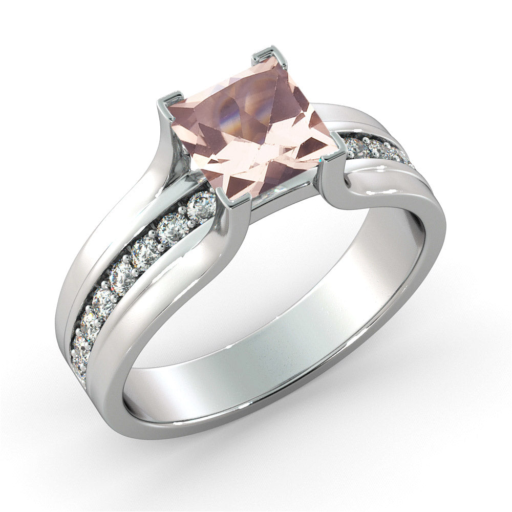 1.2 Carat 14K White Gold Morganite & Diamonds