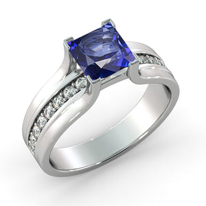 "1.2 TCW 14K Yellow Gold Blue Sapphire""Bridget"" Engagement Ring"