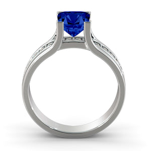 "1.2 TCW 14K White Gold Blue Sapphire""Bridget"" Engagement Ring"