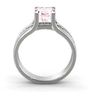 "1.2 Carat 14K White Gold Morganite & Diamonds ""Bridget"" Engagement Ring"