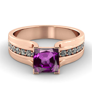 "1.2 TCW 14K White Gold Amethyst ""Bridget"" Engagement Ring"
