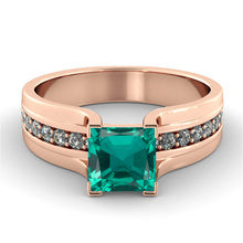 "Load image into Gallery viewer, 1.2 Carat 14K Yellow Gold Emerald & Diamonds ""Bridget"" Engagement Ring"
