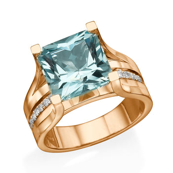 3.2 Carat 14K Rose Gold Aquamarine & Diamonds